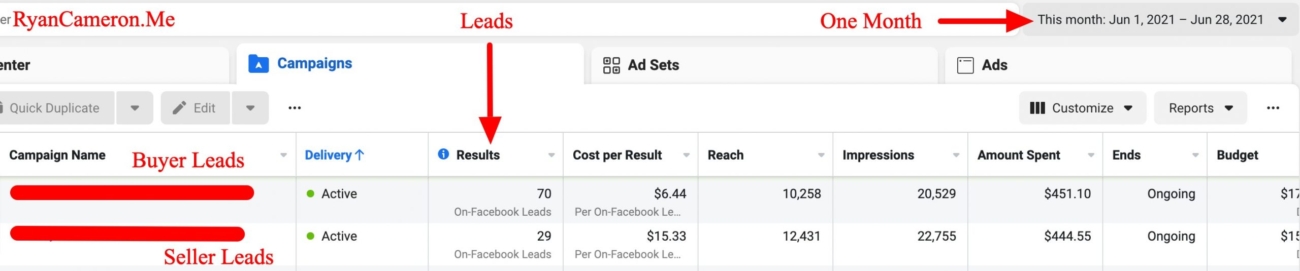 Lead generation results